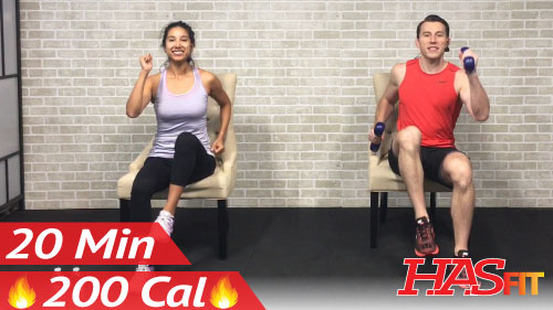 20 Min Chair Exercises Sitting Down Workout - HASfit - Free Full Length Workout Videos and
