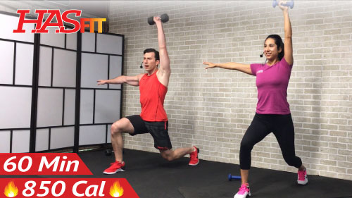 60 minute hiit workout with weights   abs - hasfit
