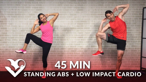 45 min standing abs low impact cardio workout hasfit free full length workout videos and. Black Bedroom Furniture Sets. Home Design Ideas