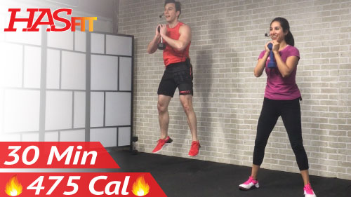 30 Min HIIT Tabata Workout with Weights - HASfit - Free Full