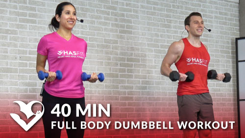 40 Min Full Body Dumbbell Workout at Home Routine - HASfit - Free